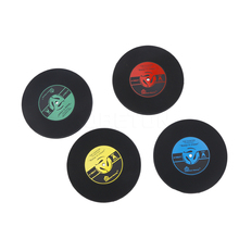 1Pcs Silicone Retro Vinyl CD Record Coasters Home Table Cup Mat Coffee Placemat Novelty Cup Cushion Drinks Holder Dining Decor(China)