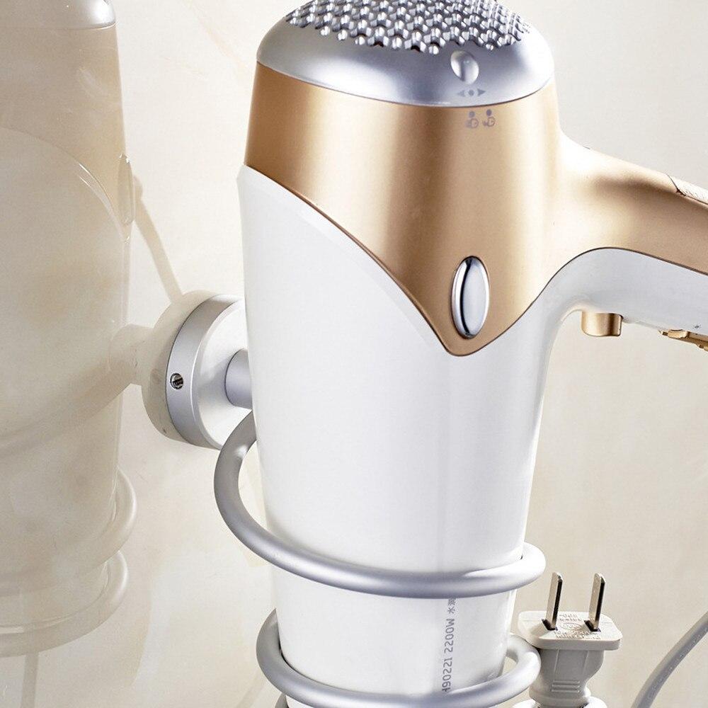 Bathroom hair dryer holder