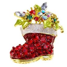 Wholesale Christmas Ornaments 1pc Red Rhinestone Crystal Christmas Stocking Brooch Xmas Gift Xmas Decoration Navidad Adornos@GH