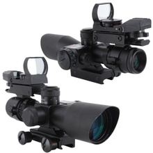 2.5-10x40 Tactical Rifle Scope Outdoor Hunting Accessories Mil-dot Red Green Illuminated Red Laser Mount Rifle Scope