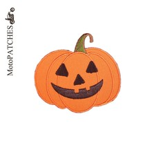MotoPATCHES Halloween Gift Pumpkin Head Embroidered Iron On Patches For Clothing New Fashion Patches DIY Accessory(China)