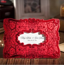 50Pcs/Lot PASAYIONE Photo Frames Shaped Creative Inviting Card Red Gold Bifolded Wedding Invitations Lembrancinha De Casamento
