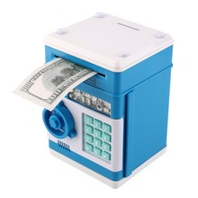 2017 7colors Kids Electronic Money Safe Box Password Saving Bank ATM for Coins and Bills Code Key Case system Money Saving box(China)