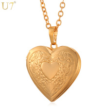 U7 Heart Necklace & Pendant Women/Men Lovers's Jewelry Valentines Gift Wholesale Gold Color Romantic Fancy Photo Locket P318