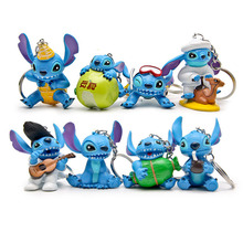 8pcs/lot Stitch action figurine keychain toy set 2016 New 3rd generation Anime stitch figura car key chain ring party supply