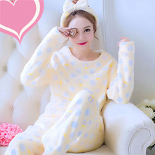 Sleepwear female coral fleece thickening autumn and winter sweet o-neck long-sleeve lounge female nightgown flannel(China)