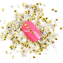 1000PCS/LOT Bijoux Angles Gold Metal Nail Art Stickers Marquise Cheap Nail Stud Jewelry Accessories DIY Materials Supplies WY335