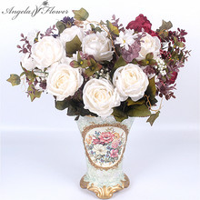 European 13 heads rich rose 1 Bouquet painting peony Artificial Vivid Peony Silk Flowers Fake Leaf Wedding Home Party Decoration(China)