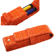Free Shipping- Luxury genuine Leather TWO PENS orange Pen Case gift Pen bag for roller ball/fountain/ballpoint pen