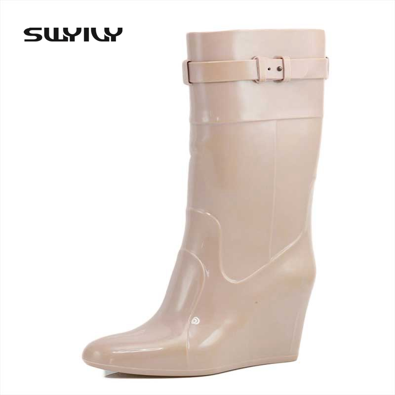 2017 New Arrival Wedge 9 CM Platform Women Rain Boots Pointed Toe Waterproof High Heels Rubber Buckle Boots<br>