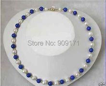 Free Shipping>>stunning 8mm round white freshwater pearls blue lapis lazuli necklace