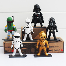 6pcs/set 9cm Star Wars Darth Vader Clone Trooper Storm Boba Fett C-3P0 Light Action Function Retail Box - The Global Best Selling store