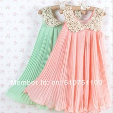 Free shipping!2013 Summer Girls Pleated Chiffon One-Piece Dress With Paillette Collar Children Colthes For Kids Baby(China)