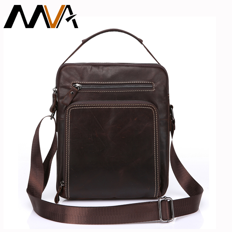 MVA Messenger Bag Men Leather Men Bag Black Shoulder Bags iPad Genuine Leather Crossbody Bags Small Shoulder Handbags 8872 <br>