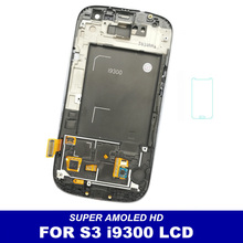 AMOLED LCDs For Samsung Galaxy SIII S3 i9300 Phone LCD Display Touch Screen Digitizer Frame Full Assembly Sensor Replacement(China)