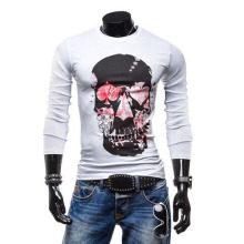 Free delivery autumn 2015, leading fashion men cultivating cotton T Skull(China)