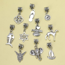 New 50pcs Tibetan Silver Mix Charm Pendant Goddess Elephant Ferry Ball Shoe Dog Bead Dangle Charm Fit European Bracelet S6512(China)