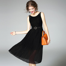 Casual Fashion Black Sleeveless O-neck Knitted Dress Woman Slim Waist Slim Fit Autumn Long Dress 2017 Korean Style Clothes Women