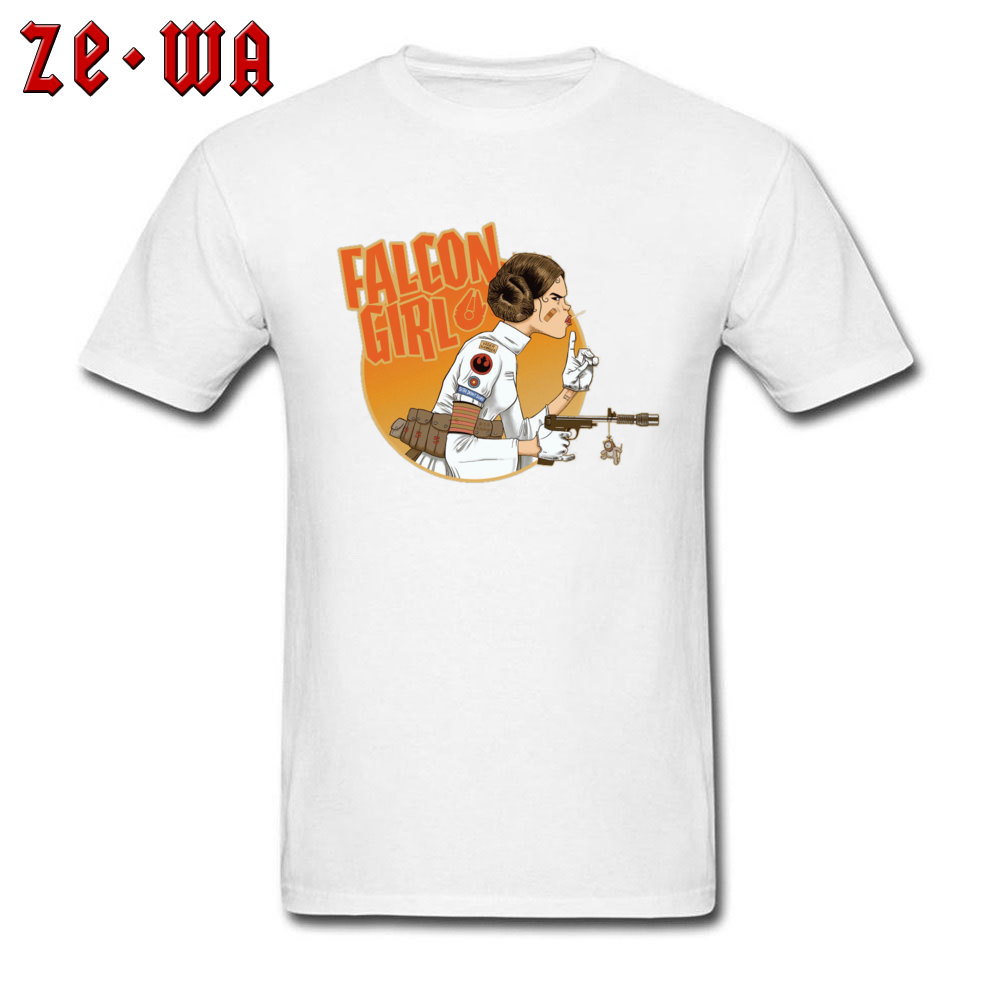 Falcon Girl Top T-shirts Hip hop Short Sleeve New Coming O-Neck 100% Cotton Tees Printing Tees for Men Summer Fall Falcon Girl white