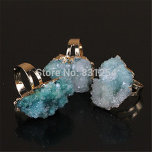 1pc Beautiful Geode Druzy Quartz Stone Ring Natural Gem Drusy Stone Charm Ring Romantic Statement Ring