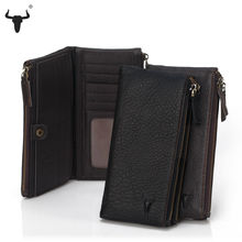 FAMOUSFAMILY Genuine Leather Zipper Organizer Wallets Men Women Cow Leather Wallet Black Bifold Purse Mens Practical Long Design