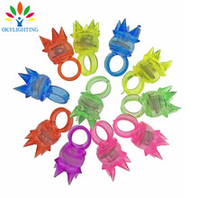 30pcs/lot Soft Led Crown Finger Ring Rubber Led Finger Light Glowing In The Dark Party Supplies Kids Light Up Ring Toys