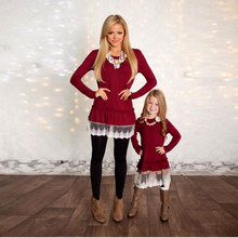 Mommy and Me Fashion Dresses Christmas mother daughter dresses Lace Patchwork Red Solid long sleeves Family Matching Clothes mom(China)