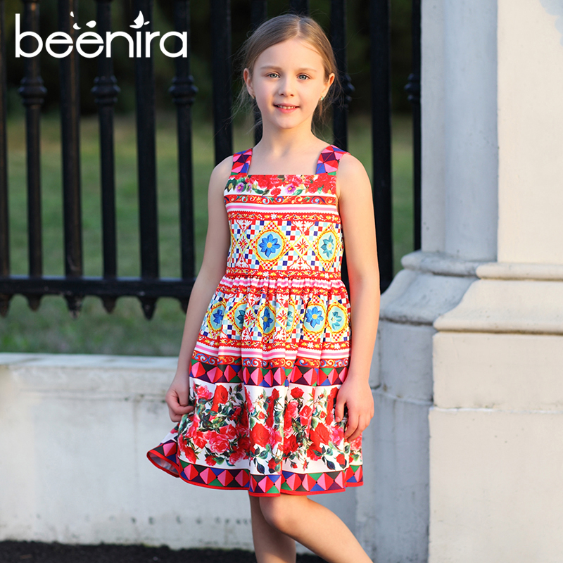 Girl Princess Dress 2017 Brand Summer Girls Party Dress Children Rose Pattern Dresses Kids Clothes Knee Length Sleeveless 4-14Y<br>