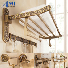 Antique Brushed Carved Aluminum Bathroom Fixture Bath Hardware Set Towel Shelf Towel Bar Paper Holder Cloth Hook AA03 Series(China)