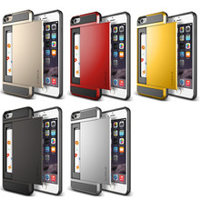 Coque Case for iPhone 6 & 6s TPU + Hard Plastic Heavy Duty Armor Hybrid With Slide Card Holder Phone Cover Carcasa