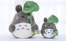 Free shipping 30cm kawaii totoro plush toy pillow, my neighbor totoro stuffed animal doll totoro with lotus leaf(China)