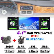 4.1 Inch 1 Din HD Bluetooth Car Stereo Radio Auto MP3 MP5 Player USB FM TF AUX + Steering Wheel Remote Control + Rearview Camera