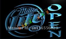 LA029- Miller Lite Beer OPEN Bar LED Neon Light Sign