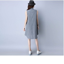 T006 Summer Casual Women patchwork strip clothing 2XL big size Clothes Chinese style SleevelessTops Fashion Teesl shirt(China)