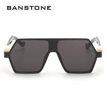 BANSTONE New Points Square Frame Flat Top Mirror Sunglasses Men Fashion Cool Retro Sunglasses Oculos masculino UV400(China)