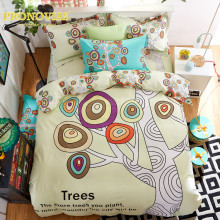 Night Tender nordic owls cotton bedding set queen size duvet/doona cover flat sheet pillow cases 4pcs set(China)