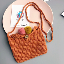 3pcs/lot winter knitted shoulder bags unisex boys girls woolen messenger bags orange/grey coin purses wallet children mini bags