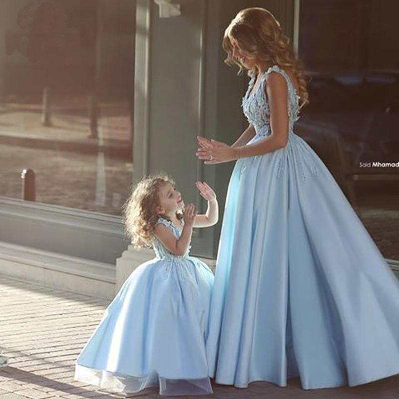 2016 A-Line vestidos de fiesta Latest Design Sky Blue Tank Sleeveless Appliques Formal mother of the bride dress