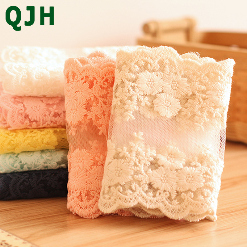 7 Colors New Soft Cotton Lace 12cm Width Water Soluble Embroidery Clothing Accessories DIY Handmade Wedding&Dress Lace Patchwork