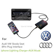 For Audi  8PIN A2 A3 A4 A6 A8 S6 S4 S8 All Road TT Car CD Change MP3 Music Adapter Charge For Iphone7 6 6s 5 5s ipod CD Quality