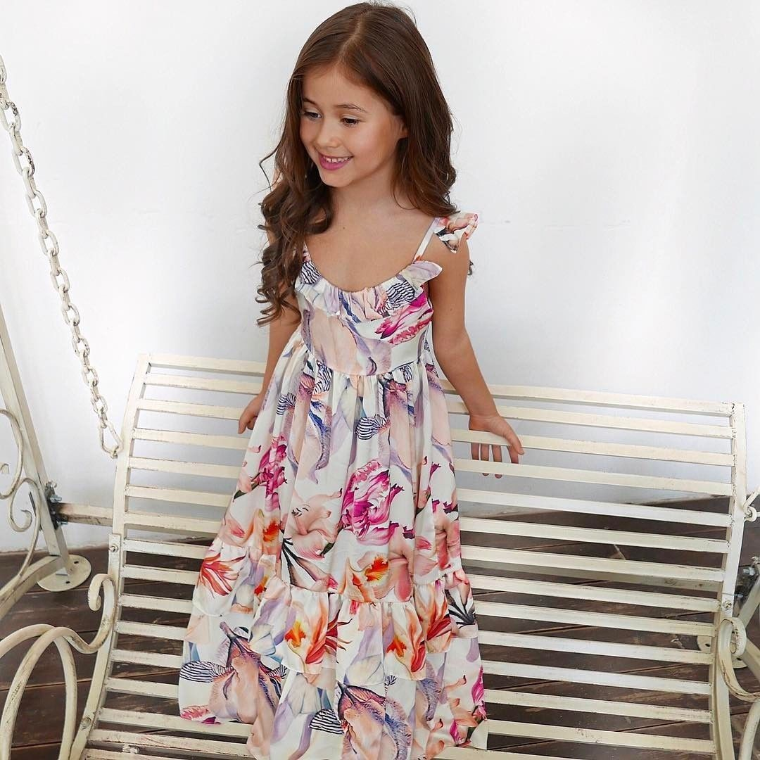 Summer Family Matching Clothes Floral Long Dresses Cotton Mother Daughter Dresses Vintage Retro Girls Kids Ladies Sundress Boho Tunic Maxi Dress Casual Birthday Princess Party Dress