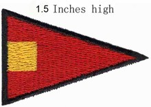 "ICS Pennant Repeat Four Flag Flagembroidery patch 1.5""high shipping/Warm tone patch/excellent distinction/ Hat ornaments(China)"