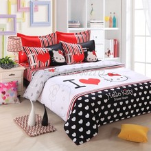 UNIKEA Home textiles bedclothes Heart shaped Hello Kitty child bedding sets include duvet cover bed sheet pillowcase(China)