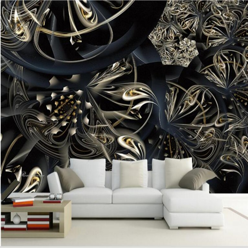 Retro Black Gold Abstract Floral Photo Wallpaper Stylish European Style Lace Theme 3D Living Room Bedroom TV 3D Wallpaper Photo<br><br>Aliexpress