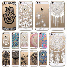 Black White Colorful Dreamcatcher Phone Cases For iPhone SE 5 5S Clear Soft TPU Silicon Back Skin Floral Paisley Flower Mandala