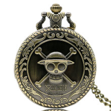 Hot Animation One Piece Cosplay Steampunk 3D Bronze Pocket Watch With Necklace Chain Free Shipping Best Gift To Children(China)