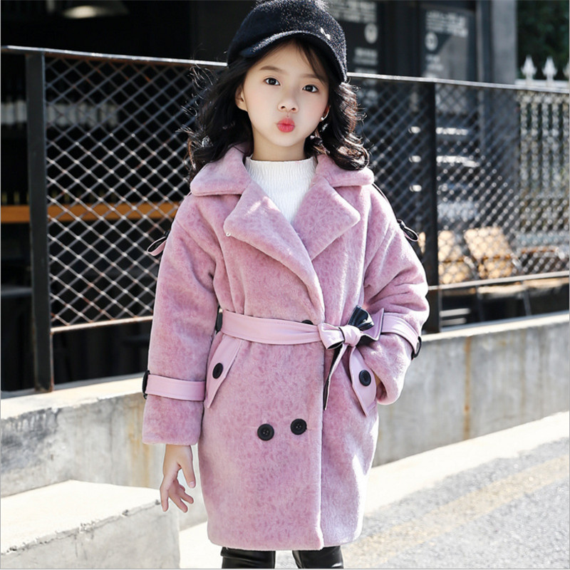 Girls Faux Fur Coat Girl Winter Clothes Fashion Casual Turn Collar Double Breasted Artificial Fur Coat Outerwear 110-160<br>