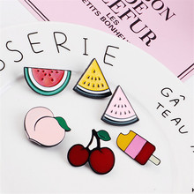 Wholesale 30PCs/Lot Fruit Watermelon Peach Cherry Ice Cream Penadnt Charm Button Clips Fit Girls Elastic Hair Band Decoration