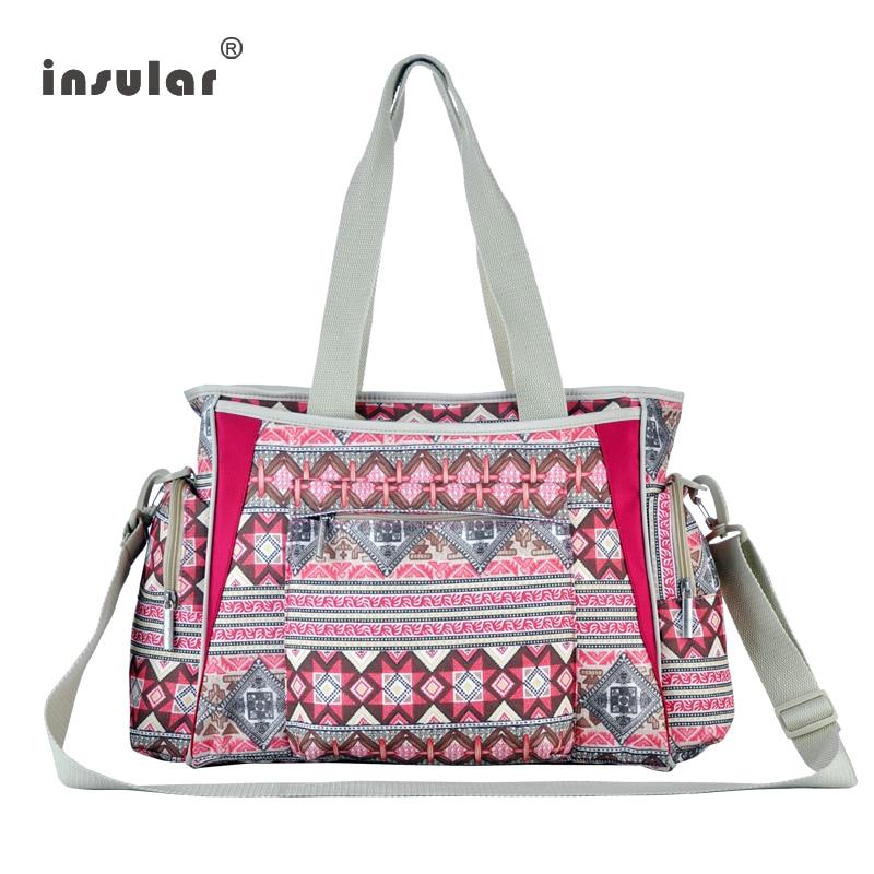 INSULAR 2PCS Fashion Bohemia Ethnic Style Canvas Diaper Handbag Large Capacity Women Tote Professional Mother Shoulders Baby Bag<br>