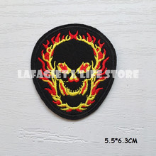 3pc/lot Fire Skull head LOGO Patches for Clothing Jacket Bag punk Motorcycle HAT Applique Garment Iron Sew on patch Vest sticker(China)